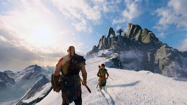 God of War, ambientazione sulle montagne innevate, screenshot in-game