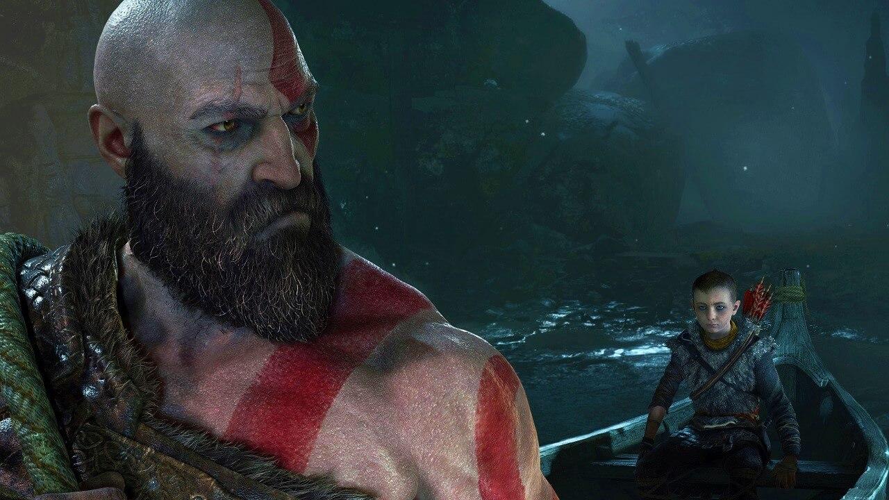 God of War, padre e figlio navigano su una barca. Il ritorno di Kratos, screenshot HD in-game