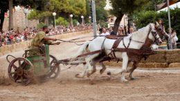 Cavallo trascina la biga, la corsa della Fano dei Cesari
