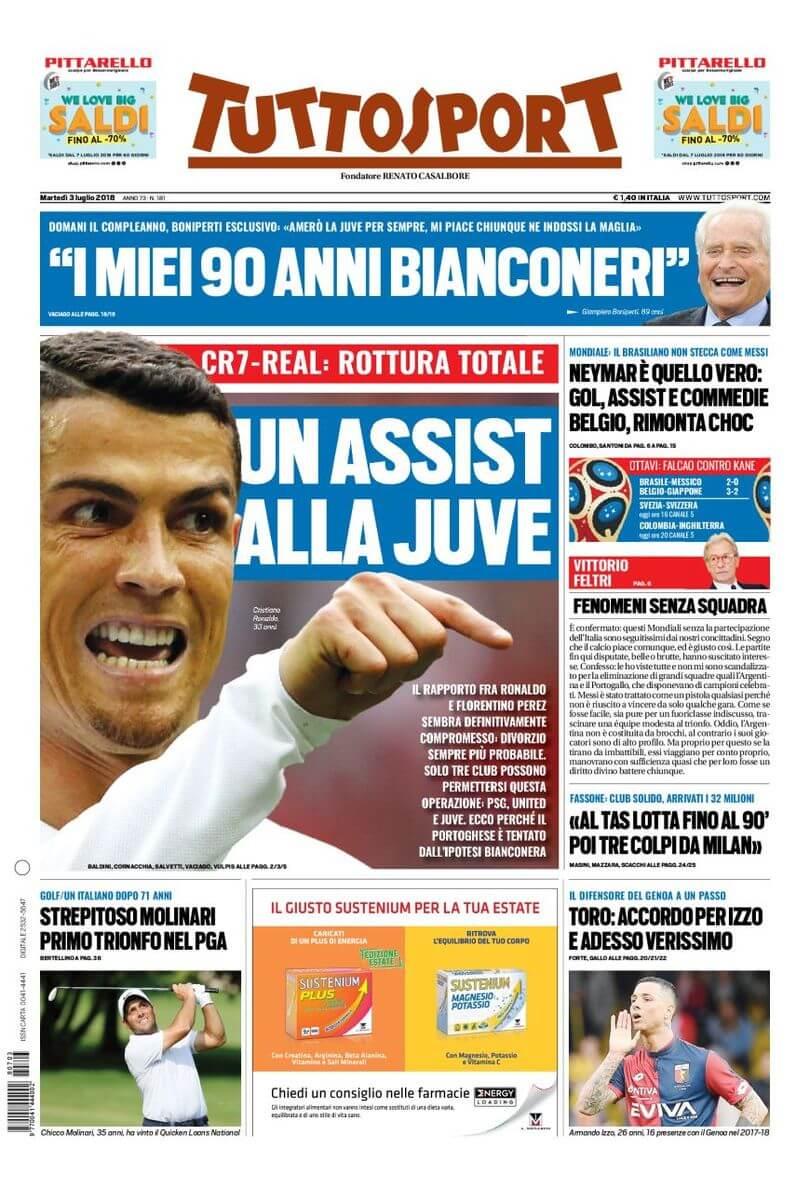 Cristiano Ronaldo alla Juventus, la prima pagina di TuttoSport